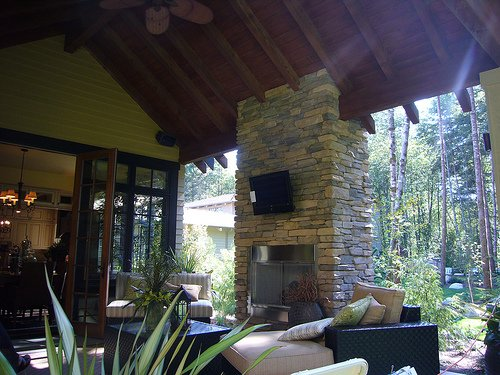 Back Porch with an A/V Upgrade – High Def. TV & High Powered Audio System